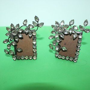 Rhinestones Photo Frame Silver Metal Mini Pair